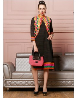 Fancy Readymade Black Cotton Kurti - Darpan2044